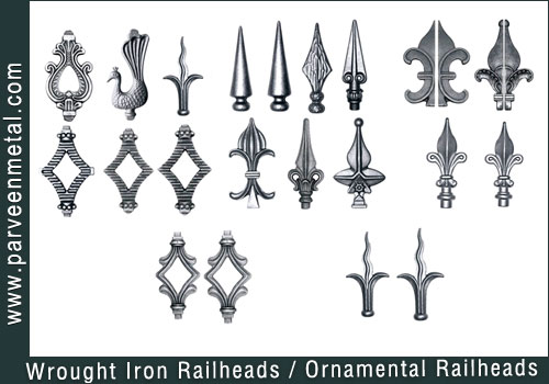 Wrought Iron Components Ornamental Gate Railheads Fencing Parts Railing Hardware